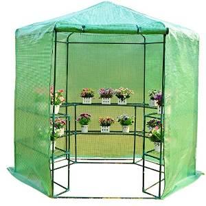 homcom 01-0470 Gewächs-Treib-Tomaten-Pflanzen Haus Frühbeet mit Regalböden